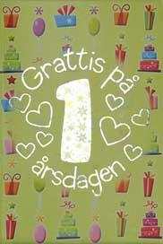 grattis på årsdagen Mini Kort Grattis på 1 årsdagen grattis på årsdagen