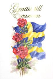 grattis på examen Rosor & svenska flaggor i akvarell '' Grattis till Examen '' grattis på examen