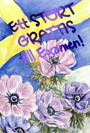 grattis på examensdagen Blommor och svensk flagga i akvarell '' Ett Stort Grattis till E grattis på examensdagen