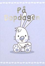 grattis på dopdagen kort Tecknad kille kanin ,text