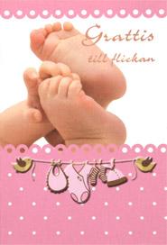 grattis flicka Bebis fötter tjej, folierad text