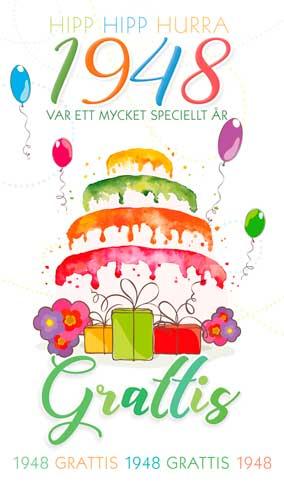 grattis 70 år Stora Årtalskort 1948 (70 år) grattis 70 år