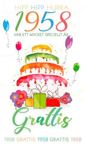 grattishälsning 60 år Stora Årtalskort 1958 (60 år) grattishälsning 60 år
