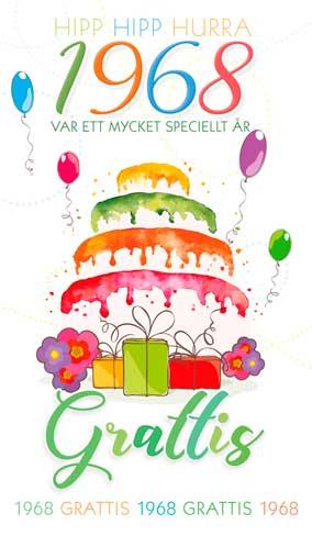 grattishälsning 50 år Stora Årtalskort 1968 (50 år) grattishälsning 50 år