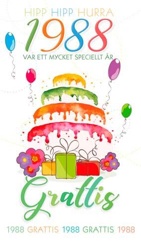 grattis på 30 årsdagen kort Stora Årtalskort 1988 (30 år) grattis på 30 årsdagen kort