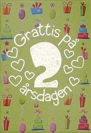 grattis på 2 årsdagen Mini Kort Grattis på 2 årsdagen grattis på 2 årsdagen