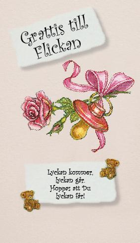 grattis till flickan Ljus rosa kort med napp och rosa ros.