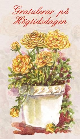 gratulerar på Gula blommor i kruka
