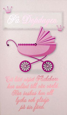 dopdagen grattis Rosa barnvagn