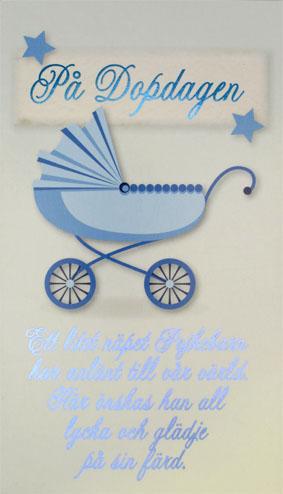 grattis på dopdagen text Blå barnvagn