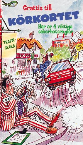 grattis till körkortet vykort Tecknat kort med bildrulle grattis till körkortet vykort