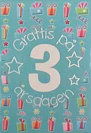 grattis på 3 årsdagen Mini Kort Grattis på 3 årsdagen grattis på 3 årsdagen