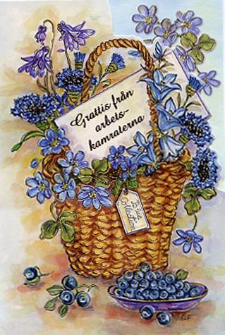 pensions gratulationer En kfull med blandade blå blommor.