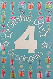 grattis på 4 årsdagen Mini Kort Grattis på 4 årsdagen grattis på 4 årsdagen