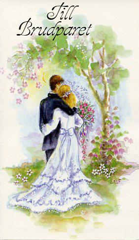 grattis brudpar Vitt kort med ett brudpar som håller om varandra.