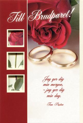 grattis till brudparet kort Rött kort med en röd ros och två guldringar.