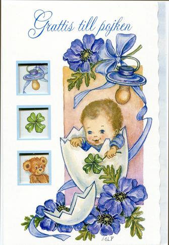 grattis till en pojke Vitt kort med nyfödd pojke.