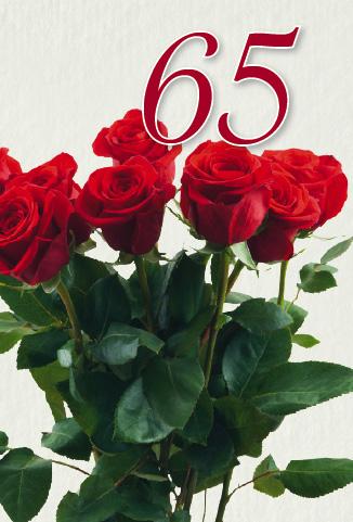 65 års kort En bukett med röda rosor 65 år. 65 års kort