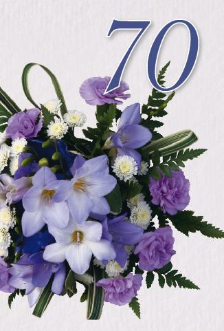 70 års gratulationer Bukett i blå/lila toner 70 år. 70 års gratulationer