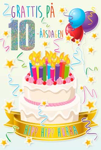 grattis 10 år Tårta med Ljus 10år grattis 10 år