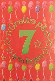 grattis på 7 årsdagen Mini Kort Grattis på 7 årsdagen grattis på 7 årsdagen