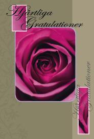 Grå/brunt kort med lila ros ''Hjärtliga Gratulationer''