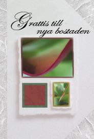 Ljus grått kort med grön växt ''Grattis till nya bostaden''
