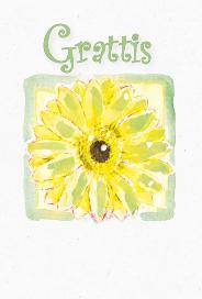Ljust kort med tecknad gul/grön blomma ''Grattis''