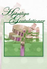 Grönt paket med guldsnören ''Hjärtliga Gratulationer''