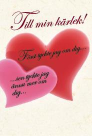 Ljust kort med två hjärtan ''Till min kärlek''