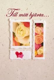 Ljust kort med rosor i vitt/orange/rosa samt två hjärtan