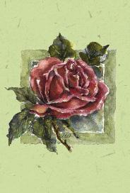 Grönt kort med tecknad röd ros