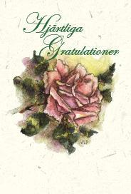 Ljust kort med tecknad rosa ros ''Hjärtliga Gratulationer''