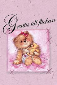 Rosa kort med nalle ''Grattis till flickan''