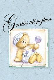 Blått kort med nalle ''Grattis till pojken''