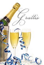 '' Grattis '' folierad text, champagne flaska & två glas
