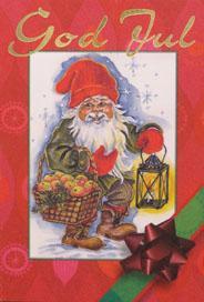 Tecknad tomte med lykta & äpplen '' God Jul ''