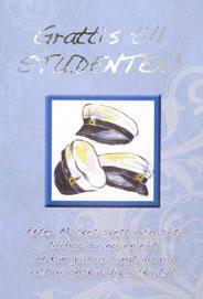 Student mössor i akvarell och tänkvärda ord '' Grattis till STUDENTEN ''