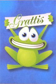 Glad groda med banderoll '' Grattis ''