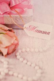 Gammelrosa ros vid paket '' Mamma''