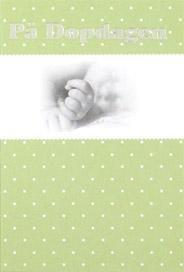 Baby hand, folierad text '' På Dopdagen ''