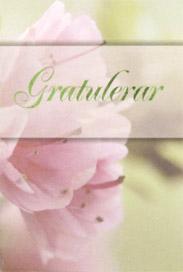 Närbild på rosa blommor , text ''Gratulerar ''