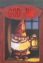 Tomte med ljuslyckta, folierad text '' GOD JUL''