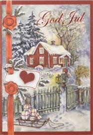 Julmotiv med röd stuga