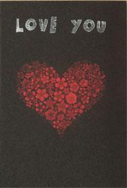 Hjärtformad blombukett i rött