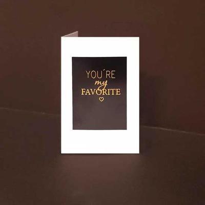 Mini kort exklusiva You are my Favorite, Guldfolie