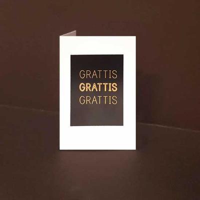 Mini kort exklusiva 3 ggr Grattis, Guldfolie