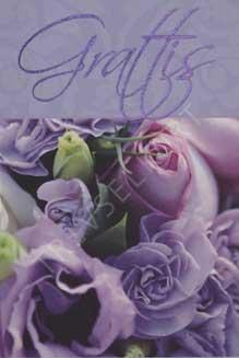 Minikort Lila rosor Grattis