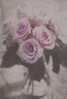 Minikort Lila Rosor i vas Antik