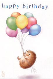 Igelkortt ballong Happy Birthday